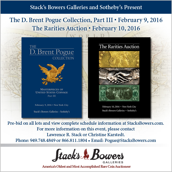 Stacks-Bowers E-Sylum ad 2016-01-10 Pogue