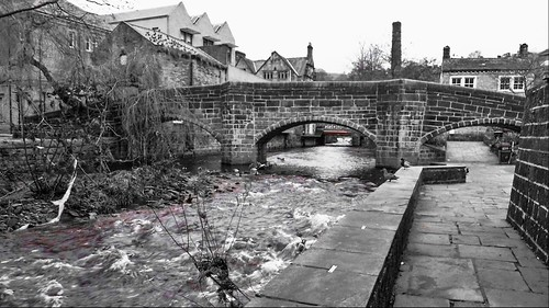 Hebden Water and Bridge, Hebden Bridge.