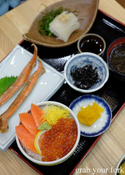 Sashimi don set from Asaichi Shokudo Makoto Yasube at Hakodate Morning Market, Japan