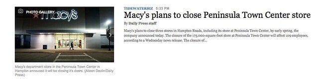 Macys closing at the old Coliseum Mall