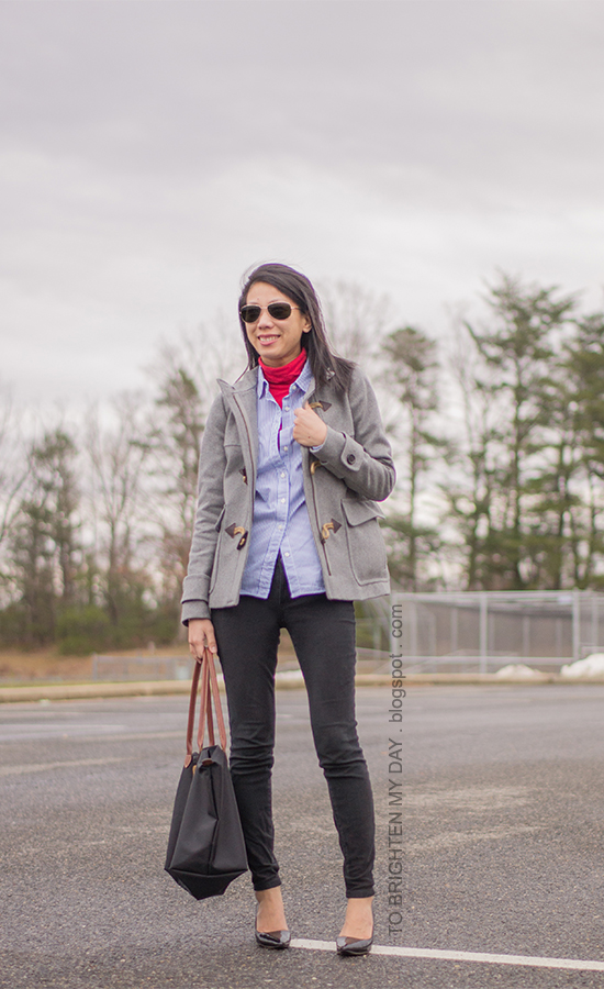 red turtleneck, blue striped button up shirt, gray toggle coat, black skinny jeans, black patent pumps