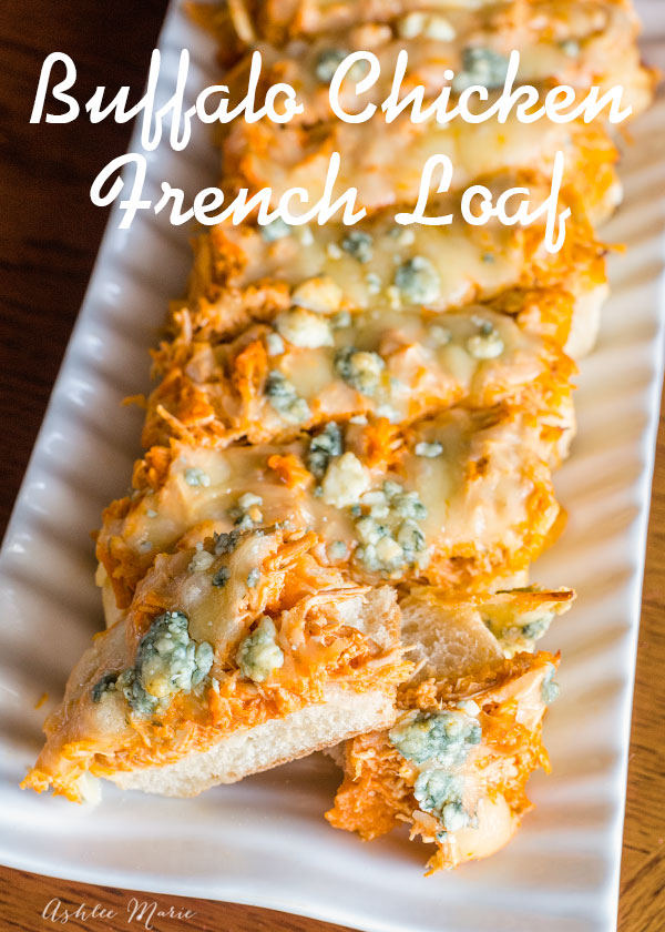 top some french bread with shredded buffalo chicken, montery jack and blue cheese for an easy and delicious game day snack