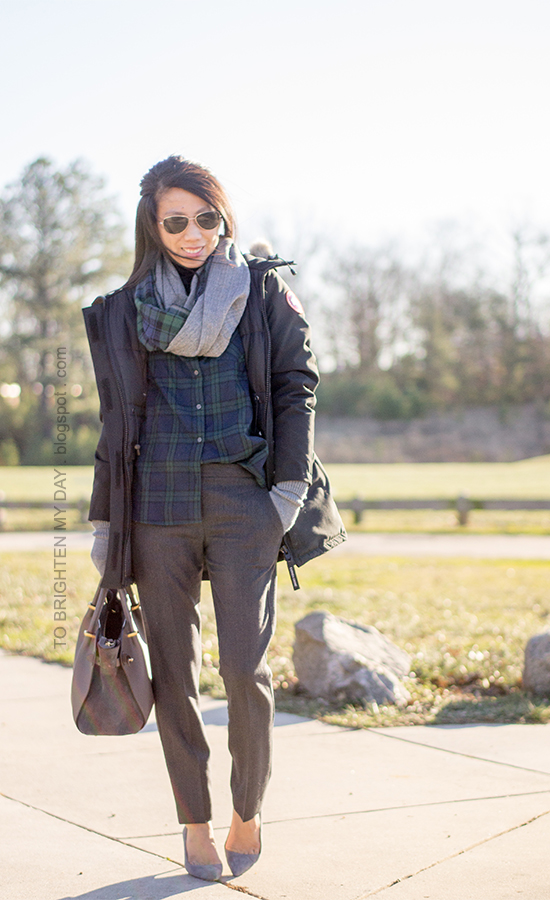 plaid and herringbone infinity scarf, plaid shirt, black parka, gray tweed pants, gray suede pumps, gray gloves