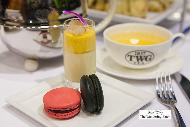 Alfonso mango tea infused mango panna cotta topped with honey milk caviar, TWG tea macarons (black: 1837 black tea and black currant; pink: Bain de Roses Tea)