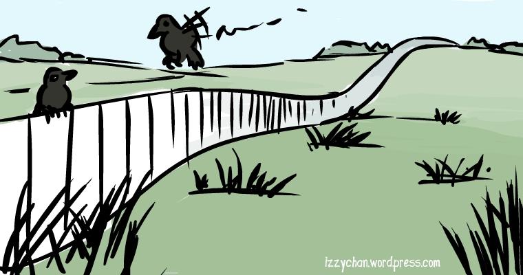 black birds on white fence