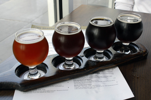 Flight of local NY beer at World of Beer