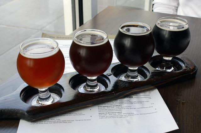 Flight of local NY beer at World of Beer