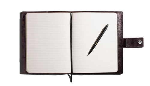 Large Journal Cover with Tab in Black ($225) and Large Linen Journal ($19.95) also from Shinola.