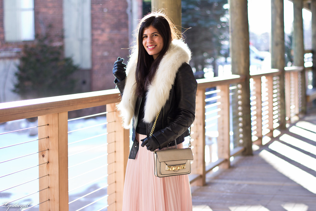 blush pleated maxi skirt, leather moto jacket, fur collar-1.jpg