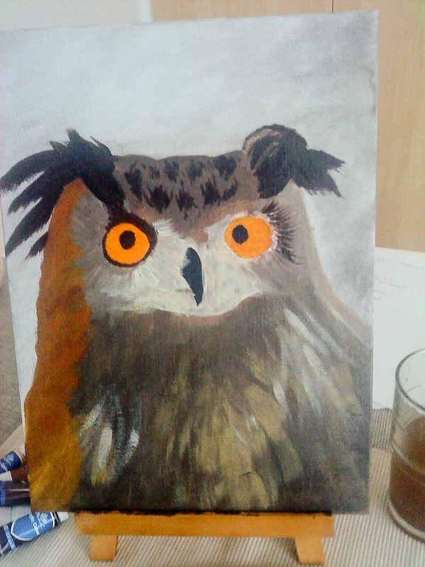 akrylmålning uggla steg 3