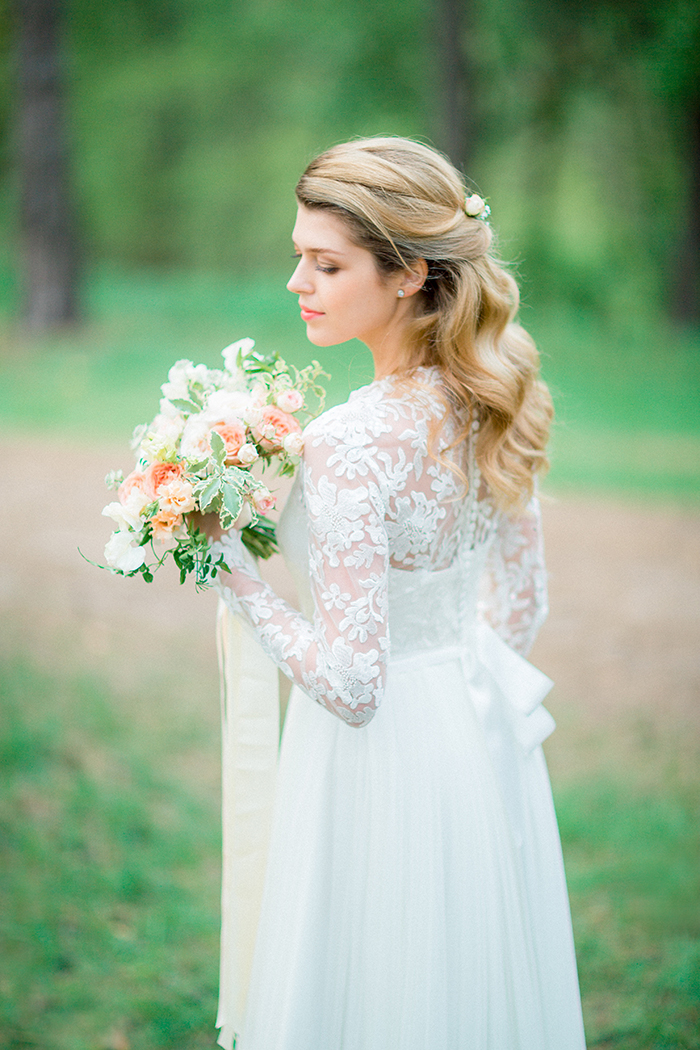 Long sleeves wedding dress for a Romantic Woodland Wedding Inspiration { Soft Peach Tones } | Photo by Igor Kovchegin Photography | Read more on Fab Mood - UK wedding blog