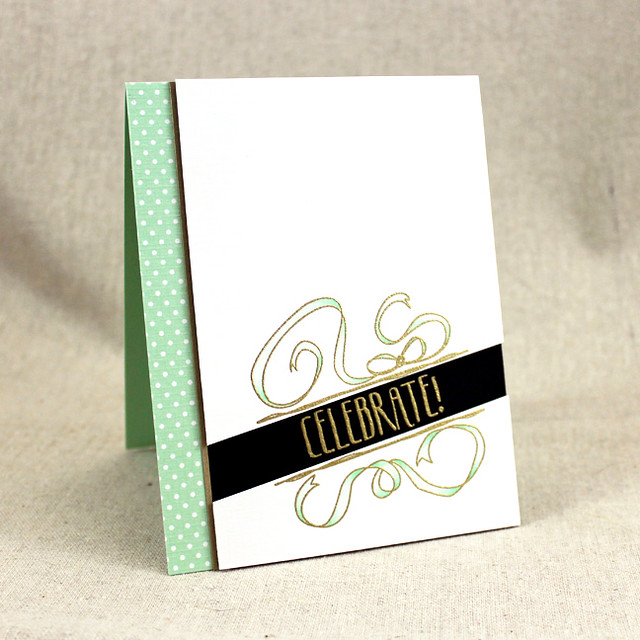 Mint & Gold Celebrate Card