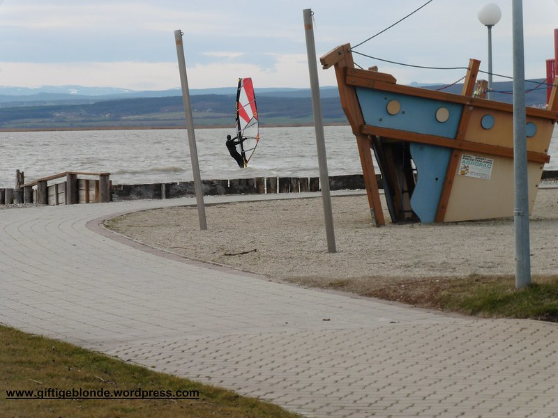 Mutiger Surfer im Sturm, in Illmitz