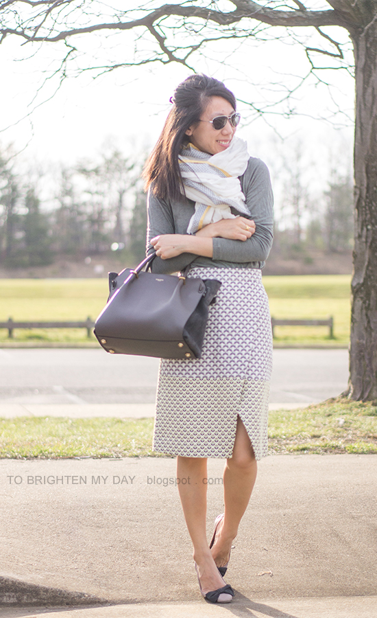 linen scarf, gray tee, brocade wrap skirt, gray tote, bow ballerina flats