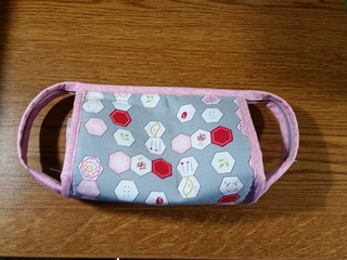 My new mini Sew Together bag.  I knew I'd find a way to use the hexie fabric I bought.