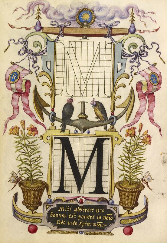 008- Fol 135 v- Guia construcción de la letra M - Mira Calligrafhiae monumenta- Joris Hoefnagel- Getty Museum.