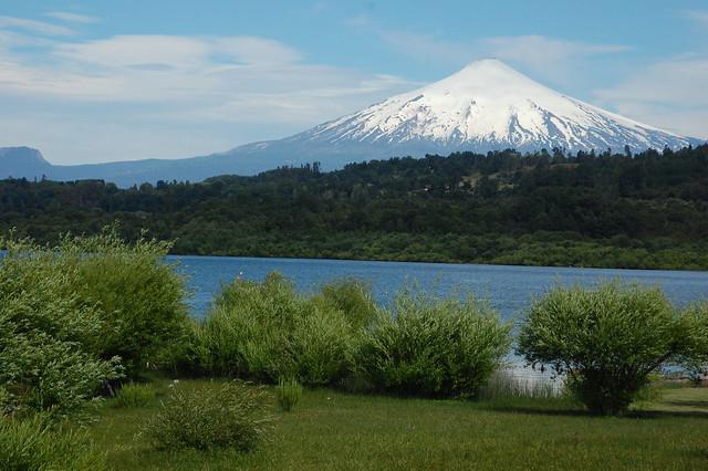 Volcán Villarica over Lago Villarica in Villarica, Chile