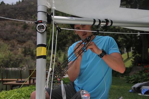 Campamento del velerista Juan Ignacio Maegli en el Lago de Atitlán