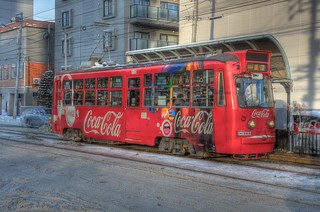 Tramcar with CocaCola ad. or 221 of Sapporo on DEC 29, 2015 (5)