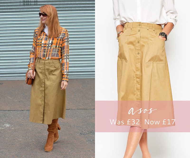 January 2016 Sales | ASOS cotton twill buttoned midi skirt