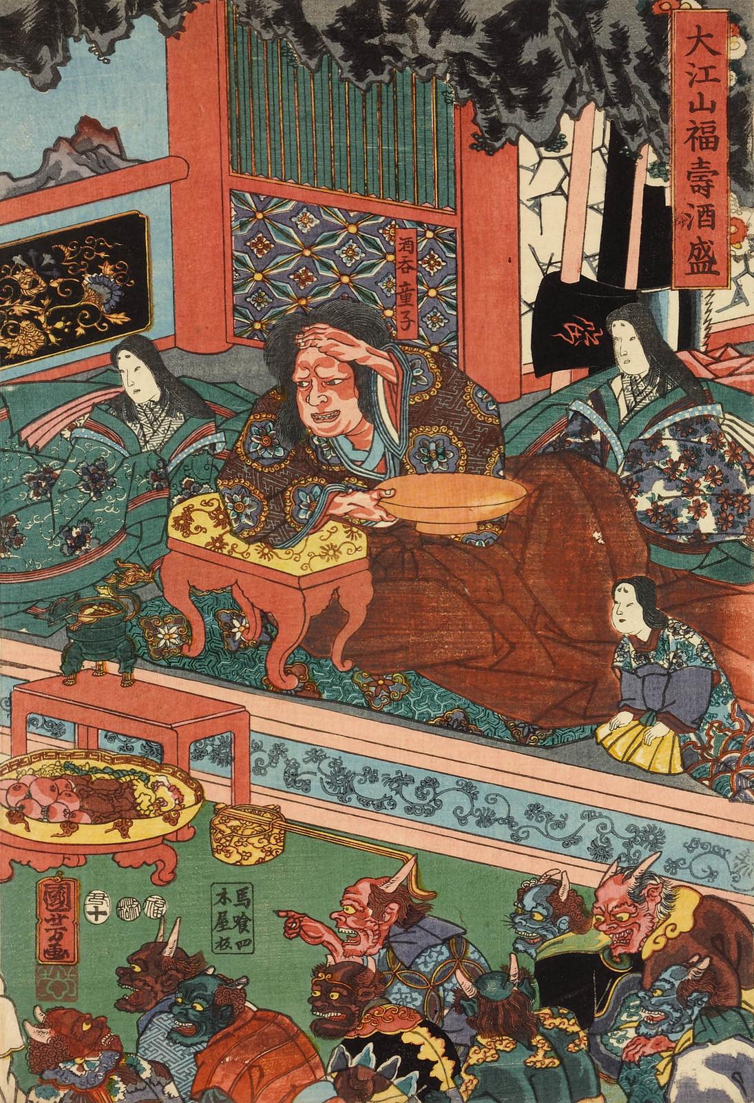 Utagawa Kuniyoshi - Raiko and his retainers entertaining the Shuten-doji and his demons with sake and dancing, 1853 (right panel)