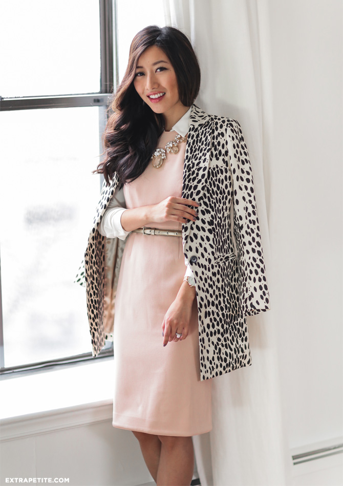 classic work outfit pink sheath dress leopard coat