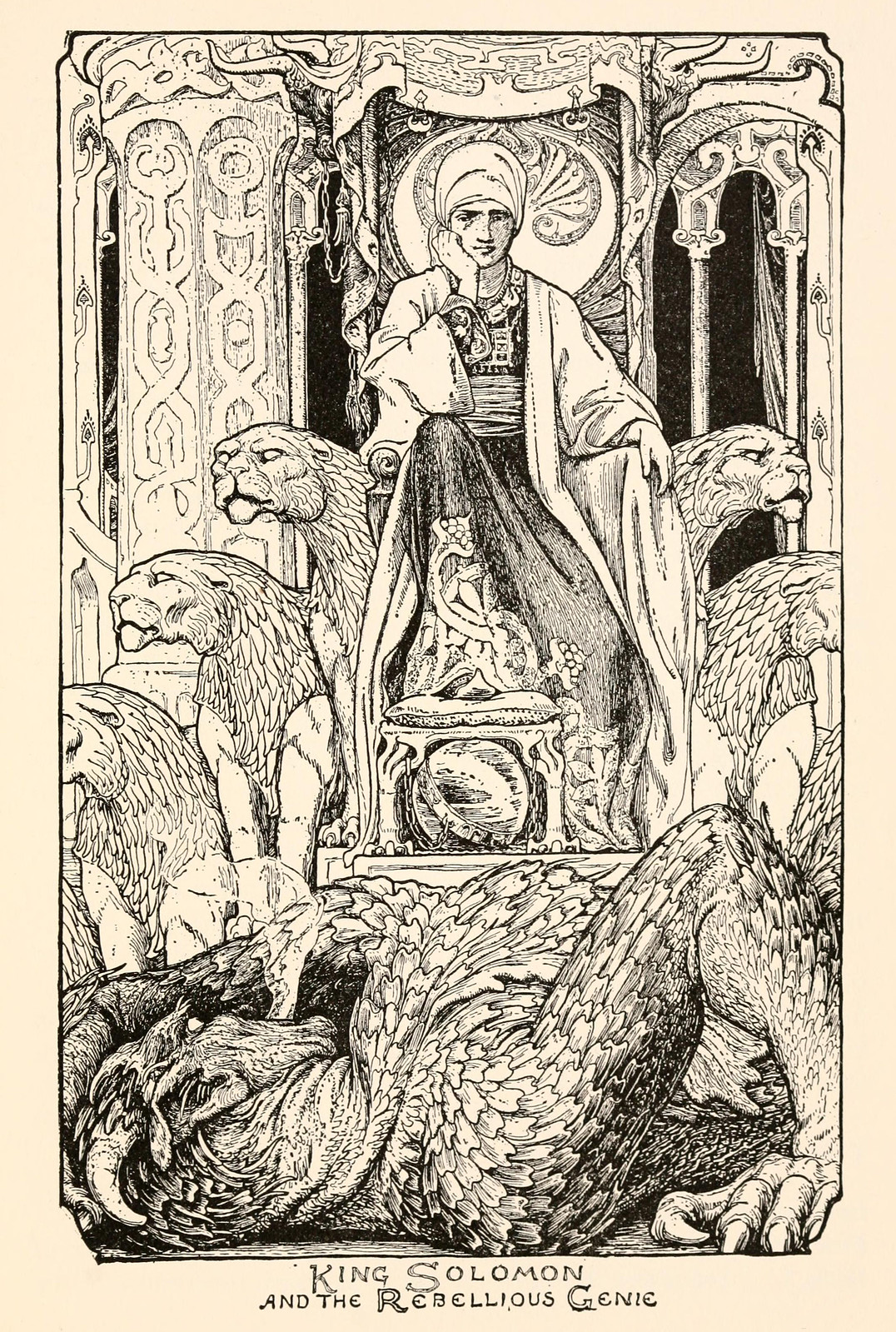 "John D Batten - Illustration from The Story Of The Fisherman And Genie, ""Fairy Tales From The Arabian Nights,"" 1915"