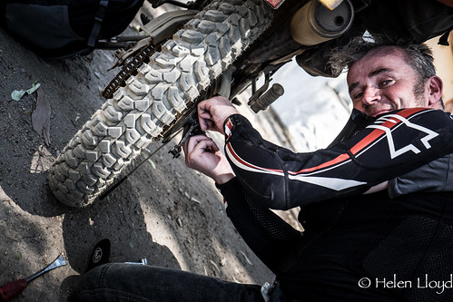 Jimmy fixing a dodgy brake
