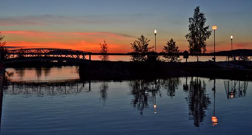 bridge light sunset summer sky lake nature water clouds reflections suomi finland landscape evening maisema ilta kesä luonto yö aftersunset järvi auringonlasku nikond3200 silta taivas vesijärvi heijastukset sunsetonthelake järvimaisema