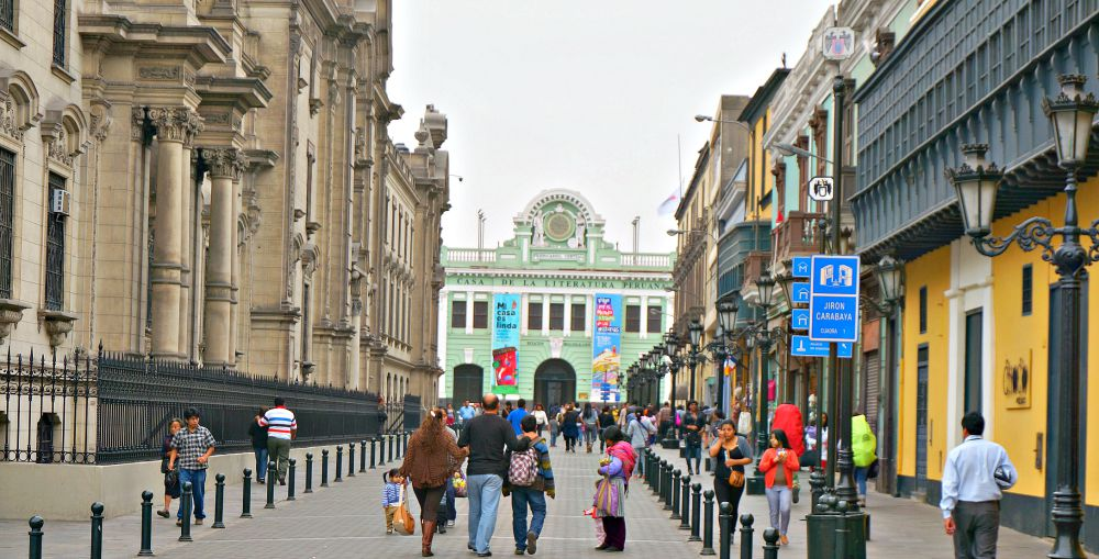Colorful Pedestrian Street in Lima