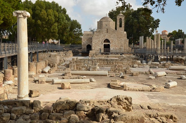 The Byzantine basilica of Panagia Chrysopolitissa, built at the end of the 4th century and destroyed in the middle of the 7th century, the largest basilica ever excavated in Cyprus, Paphos, Cyprus