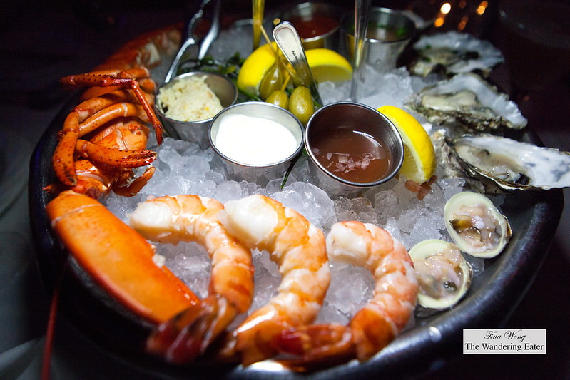 Seafood platter - 1/2 steamed lobster, three large shrimp, 4 oysters (Washington State), 2 clams