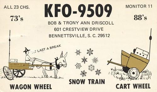 snow weather vintage wagon southcarolina donkey qsl cart cb mule cbradio qslcard bennettsville