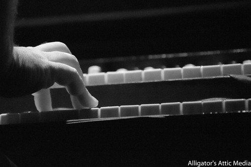 John Papa Gross tickles the ivories at the 8x10 in Baltimore, Maryland.
