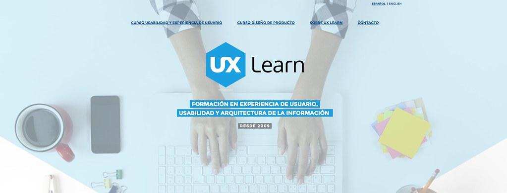 Cabecera de la web de UX Learn - marzo 2016