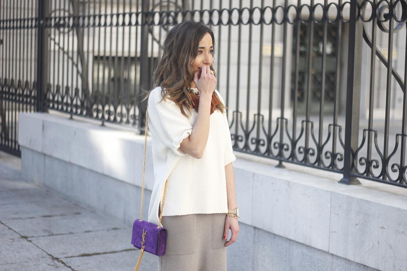 maxi grey knitted skirt saint laurent handbag nude heels outfit10
