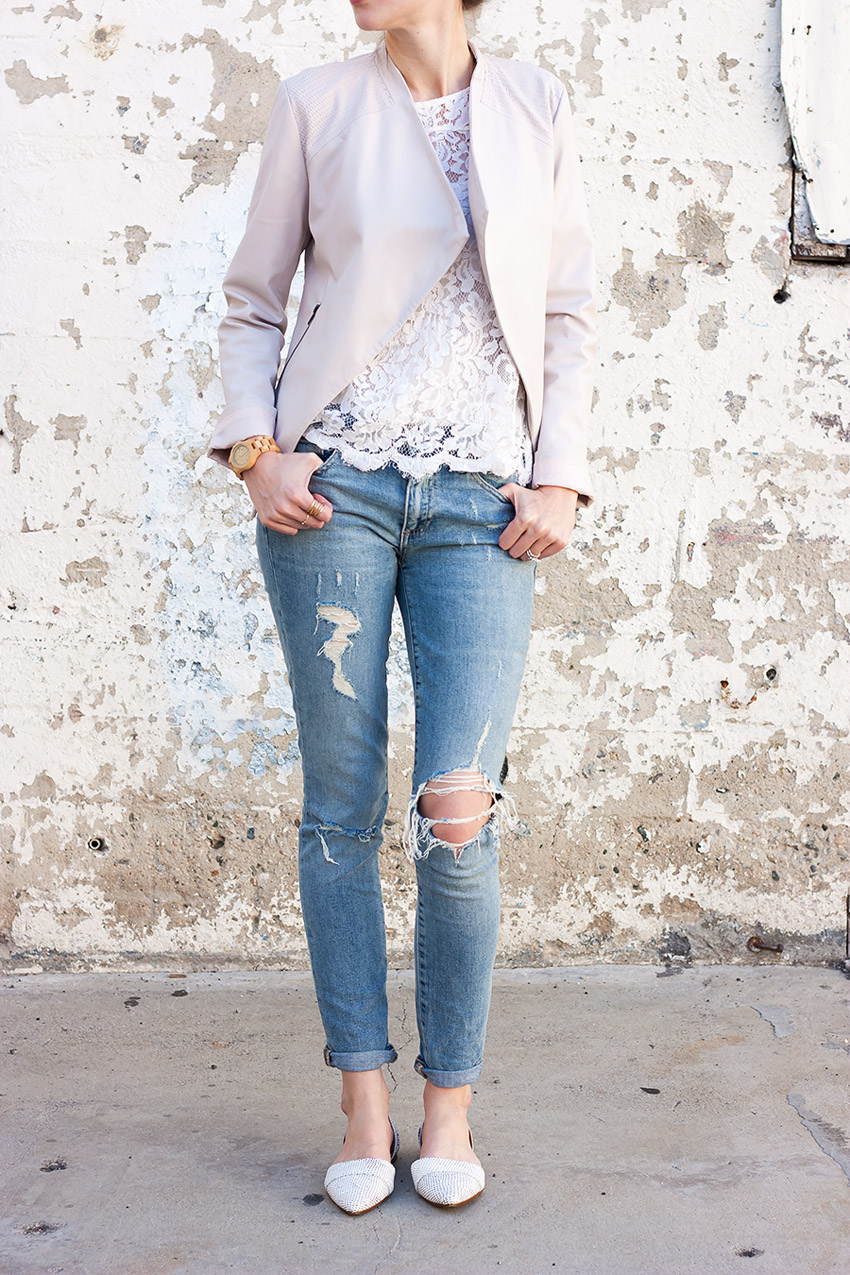 Gap Distressed Jeans, Blush Jacket