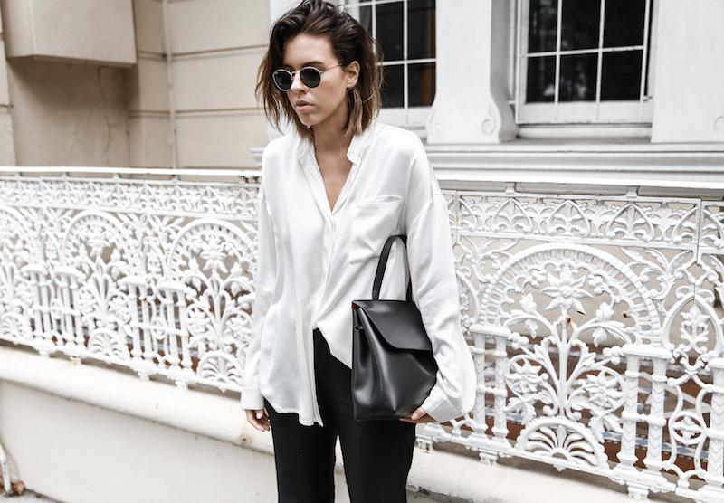 monochrome minimal street style inspo fashion blogger Haider Ackermann silk shirt flare pant mansur gavriel bag black white modern legacy outfit (5 of 6)