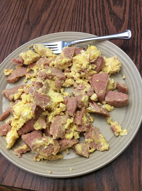 Celebrating St Patrick's Day with spam and eggs