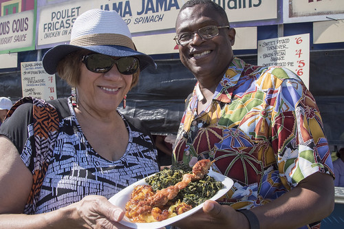 Lunchtime at Jazz Fest Day 1. Photo by Marc PoKempner.