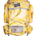 My Favourite Colour Studio; Franky and Annie Scaglione; Rucksack, watercolour, 19.5 in. x 27.5 in., 2016 - Right to Roam; Jeffco Teacher Solo Exhibition
