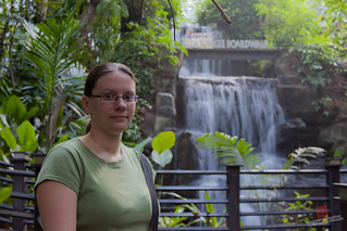 Rosie in Front of the Waterfall in the KLIA Jungle Boardwalk