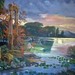 Romantische Landschaft mit antiker Ruine - auch ein Thema der Hausgangmalerei, Ölgemälde