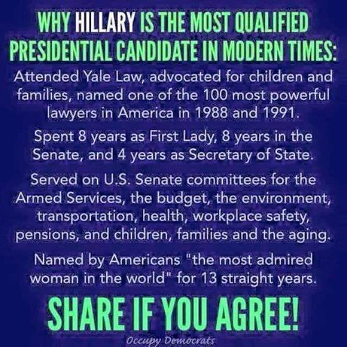 occupy democrats hillary most qualified candidate