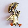 Vintage Jonette Jewelry Brass Duck Brooch w/ Enamel Accents - Funny Duck w/ Umbrella