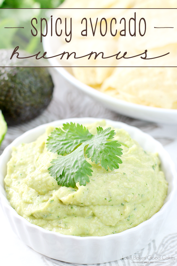 Spicy Avocado Hummus in a white bowl.