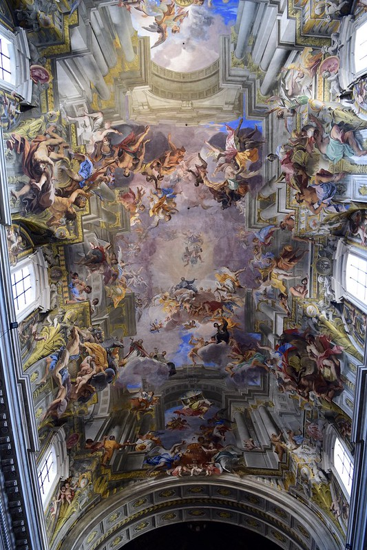 Frescoes by Andrea Pozzo on the ceiling of St. Ignatius Church