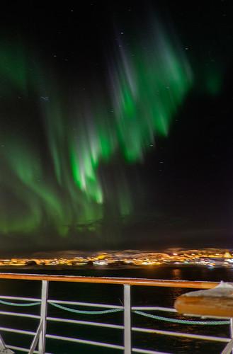 Northern lights above Berlevåg, from MS Lofoten