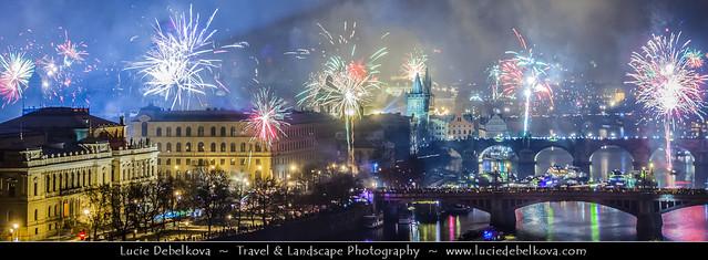 Czech Republic - Prague - Praha - Bridges over the Vltava river at Night during New Year's Firework display
