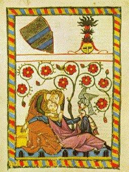 CASTELLO Miniatura con dama e cavaliere innamorati. Codice Manesse